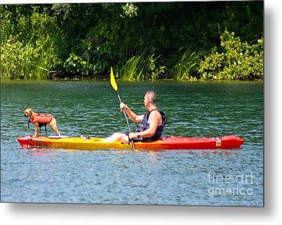 Kayaking Buddies Metal Print