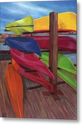 Kayak's At Tide Point Metal Print