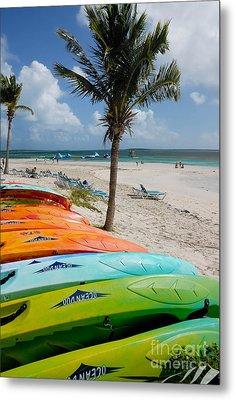 Kayaks On The Beach Metal Print