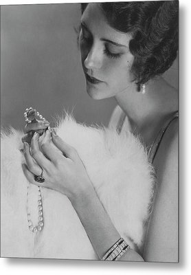 Kendall Lee Holding A Pearl Necklace Metal Print