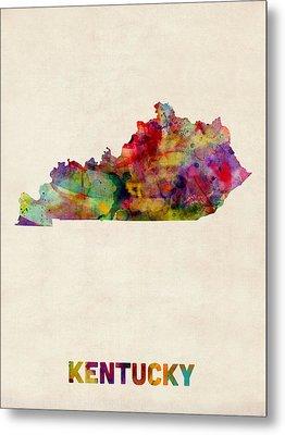 Kentucky Watercolor Map Metal Print by Michael Tompsett