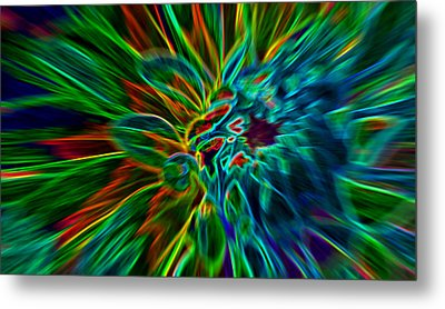 Kinetic Neon Abstract Metal Print by James Hammen