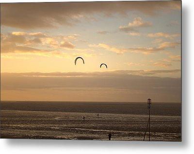 Kites At Sunset Metal Print by Dave Woodbridge