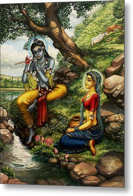 Krishna With Radha Metal Print by Vrindavan Das