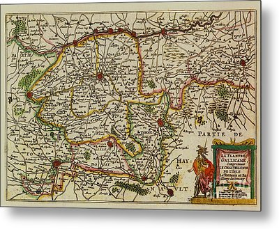 La Fandre Gallicane Vintage Map Metal Print by Inspired Nature Photography Fine Art Photography