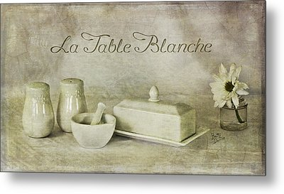 La Table Blanche - The White Table Metal Print by Betty Denise