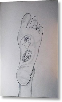 Metal Print featuring the drawing Labyrinth Foot Pie Laberinto by Lazaro Hurtado