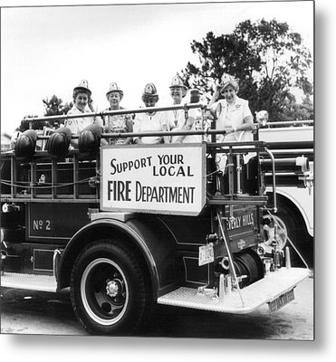 Ladies Supporting Fire Department Metal Print by Retro Images Archive
