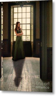 Lady In Green Gown By Window Metal Print by Jill Battaglia