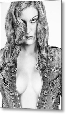 Lady With A Jeans Jacket Metal Print by Ralf Kaiser