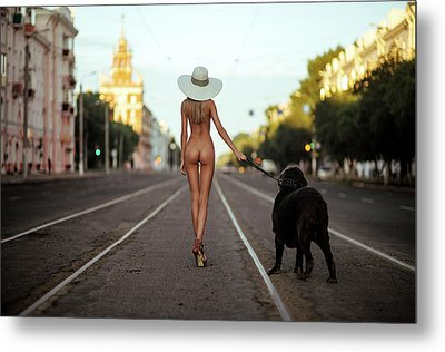 Lady With Her Dog Metal Print