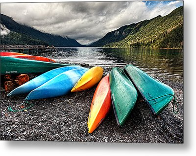 Lake Crescent Kayaks Metal Print by Ian Good