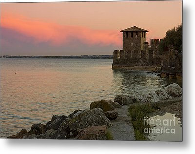 Lake Garda Sunset With The Tower Of The Scaliger Castle Metal Print by Kiril Stanchev