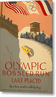 Metal Print featuring the painting Lake Placid  Bobsled Olyimics by American Classic Art