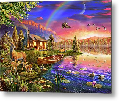 Metal Print featuring the drawing Lakeside Cabin  by Adrian Chesterman