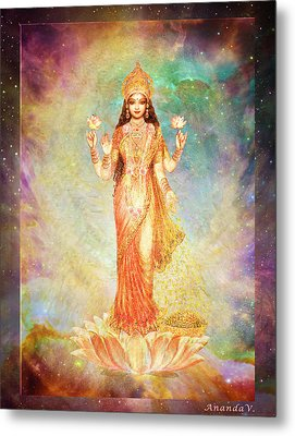Lakshmi Floating In A Galaxy Metal Print by Ananda Vdovic
