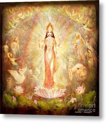 Lakshmi With Angels And Muses Metal Print by Ananda Vdovic
