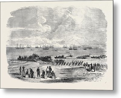 Landing Artillery On The Spit Metal Print by English School