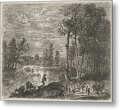Landscape At Night With Farmers And Livestock Metal Print