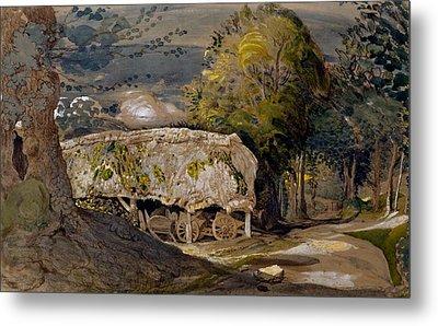 Landscape With A Barn, Shoreham, Kent Metal Print by Samuel Palmer