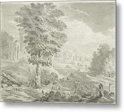 Landscape With A City In The Background, A Shepherd Metal Print