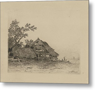 Landscape With A Dilapidated Shed, Remigius Adrianus Haanen Metal Print by Remigius Adrianus Haanen