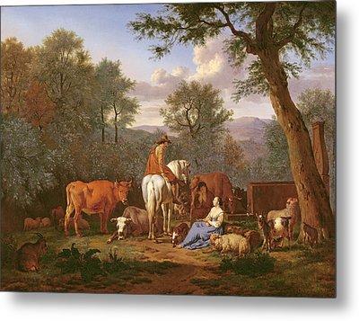 Landscape With Cattle And Figures Metal Print by Adriaen van de Velde