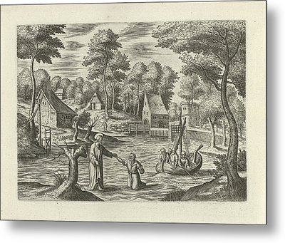 Landscape With Christ Walking On The Water Metal Print