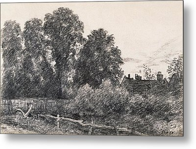 Landscape With Elm Tress And A House Metal Print