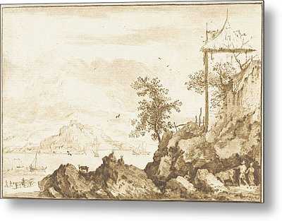 Landscape With In The Background The River Rhine Metal Print