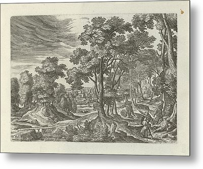 Landscape With Robbery Of The Traveler, Julius Goltzius Metal Print