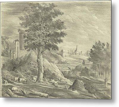 Landscape With Shepherd And Sheep, Jurriaan Cootwijck Metal Print