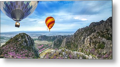 Lanscape Of Mountain And Balloon Metal Print by Anek Suwannaphoom