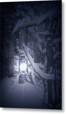 Lantern In Snow Metal Print by Joana Kruse