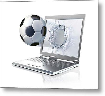 Laptop With Football Metal Print