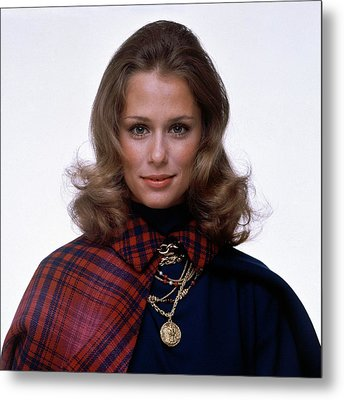 Laura Hutton Wearing Van Cleef & Arpel Necklaces Metal Print by Gianni Penati