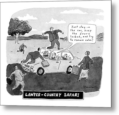 Lawyer-country Safari 'just Stay In The Car Metal Print