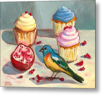 Lazuli Bunting And Pomegranate Cupcakes Metal Print by Susan Thomas