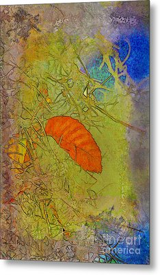 Leaf In The Moss Metal Print by Deborah Benoit