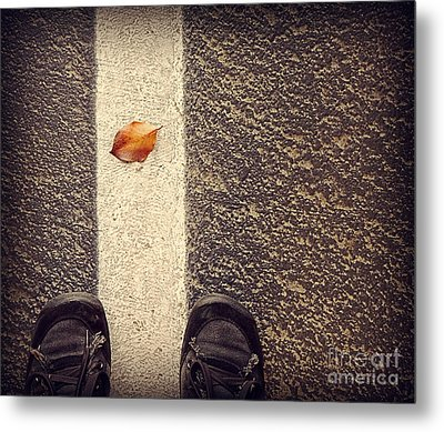 Metal Print featuring the photograph Leaf On The Line by Meghan at FireBonnet Art