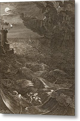 Leander Swims Over The Hellespont Metal Print by Bernard Picart