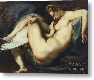 Leda And The Swan Metal Print by Rubens