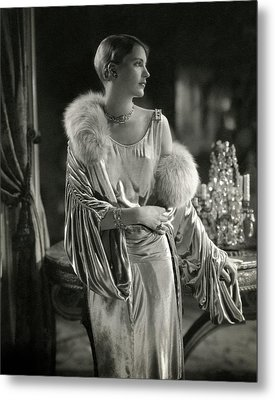 Lee Miller Wearing An Evening Gown Metal Print by Edward Steichen