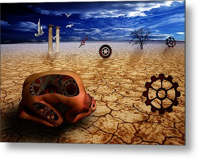 Left Me By Desert Metal Print