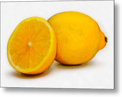 Metal Print featuring the digital art Lemons by David Blank