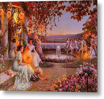 Metal Print featuring the painting Les Lampions   by Delphin Enjolras