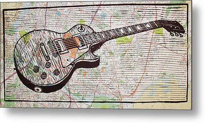 Les Paul On Austin Map Metal Print by William Cauthern