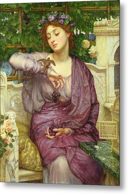 Lesbia And Her Sparrow Metal Print by Sir Edward John Poynter