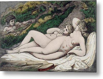 Lesbian Lovers In A Wood Metal Print