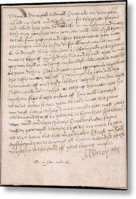 Letter Of Henry Viii Metal Print by British Library